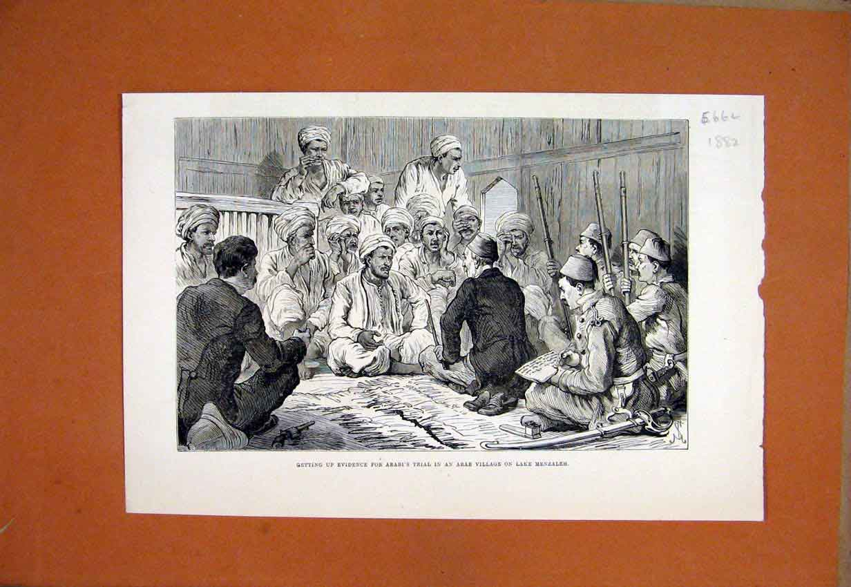 Print 1882 Evidence Arabi Trial Village Lake Menzaleh 66Lmar1 Old Original