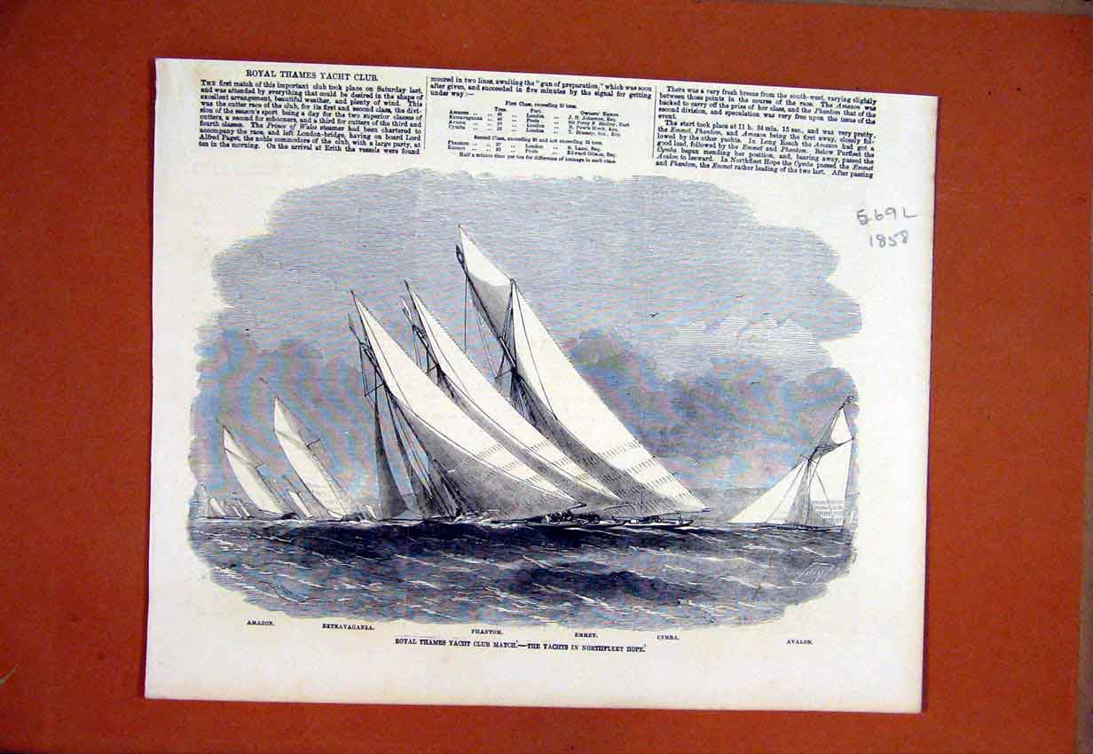 Print Royal Thames Yacht Club Match 1858 Northfleet Hope 69Lmar1 Old Original