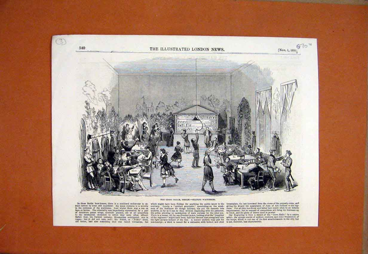 Print 1851 Corso Halle Berlin Skating Waitresses 70Umar1 Old Original