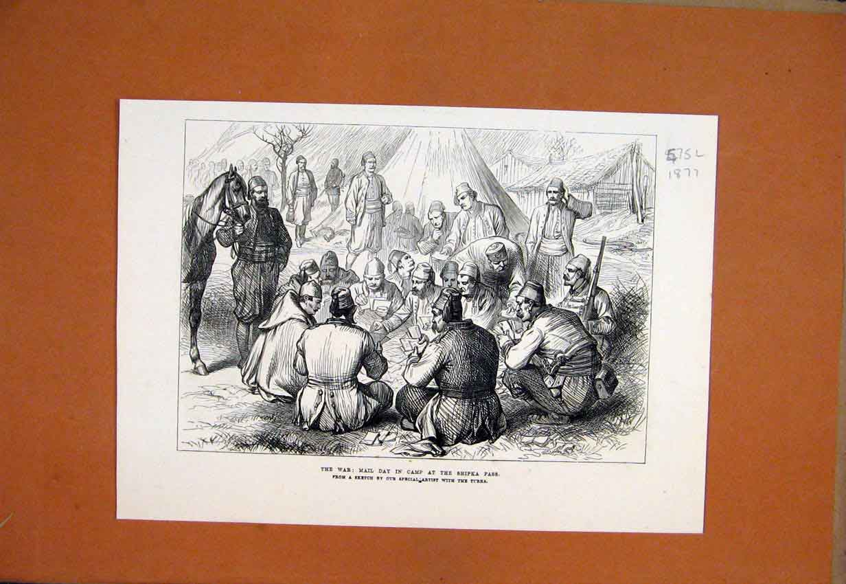 Print 1877 War Mail Day Camp Shipka Pass Turks Soldiers 75Lmar1 Old Original