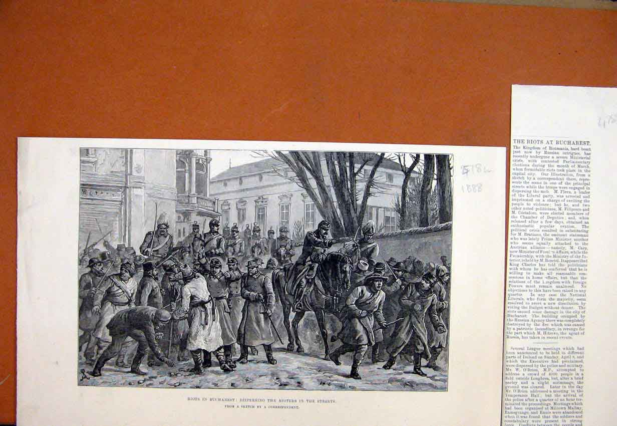 Print 1888 Riots Bucharest Dispersing Rioters Street Sketch 78Lmar1 Old Original