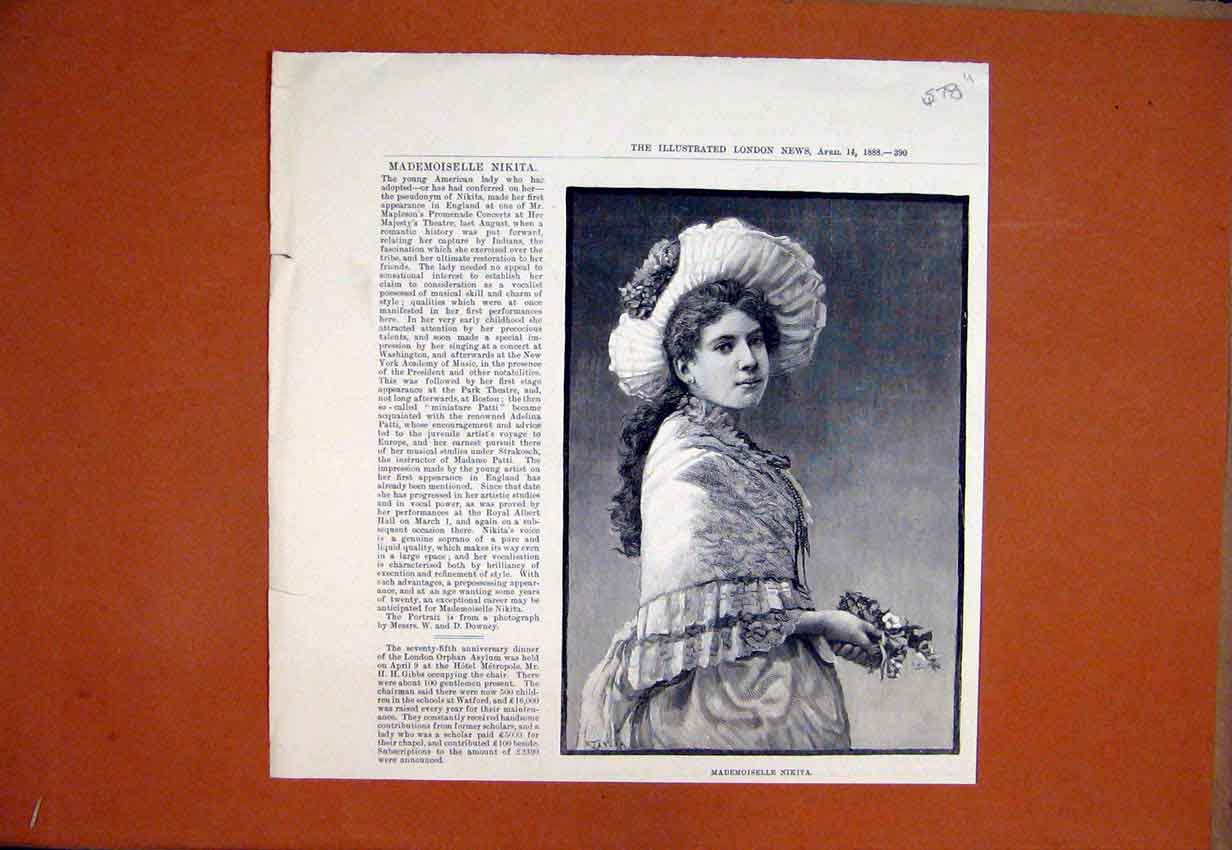 Print 1888 Portrait Mademoiselle Nikita Beautiful Woman 78Umar1 Old Original