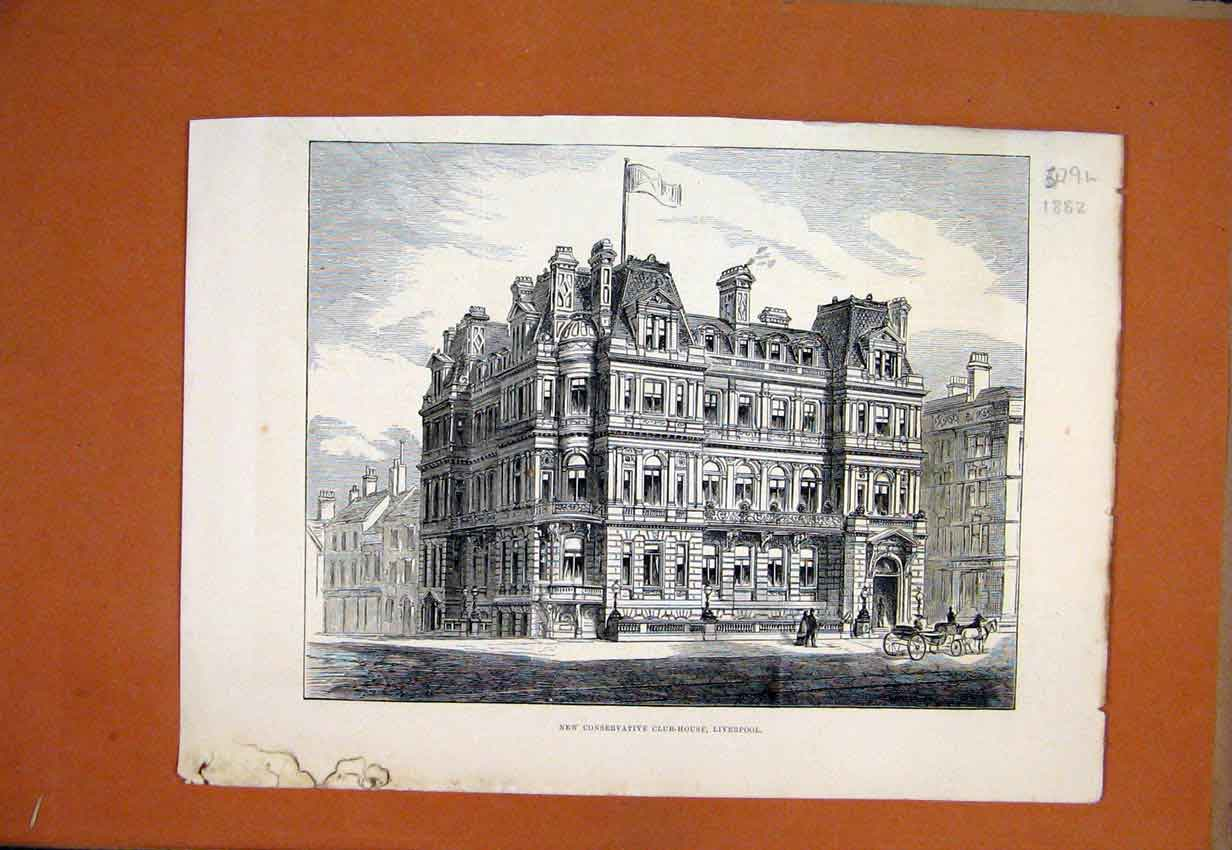 Print 1882 New Conservative Club-House Liverpool Building 79Lmar1 Old Original