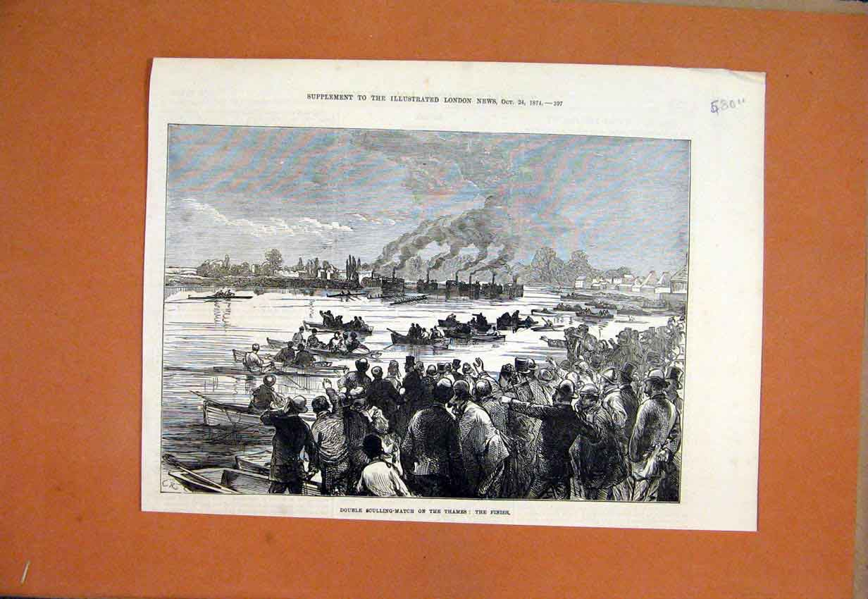Print 1874 Double Sculling-Match Thames River Finish Line 80Umar1 Old Original