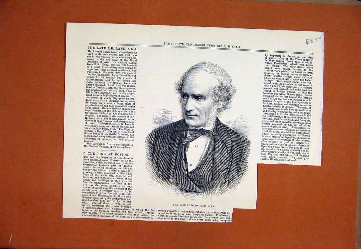 Print 1872 Portrait Late Richard Lane 83Umar1 Old Original