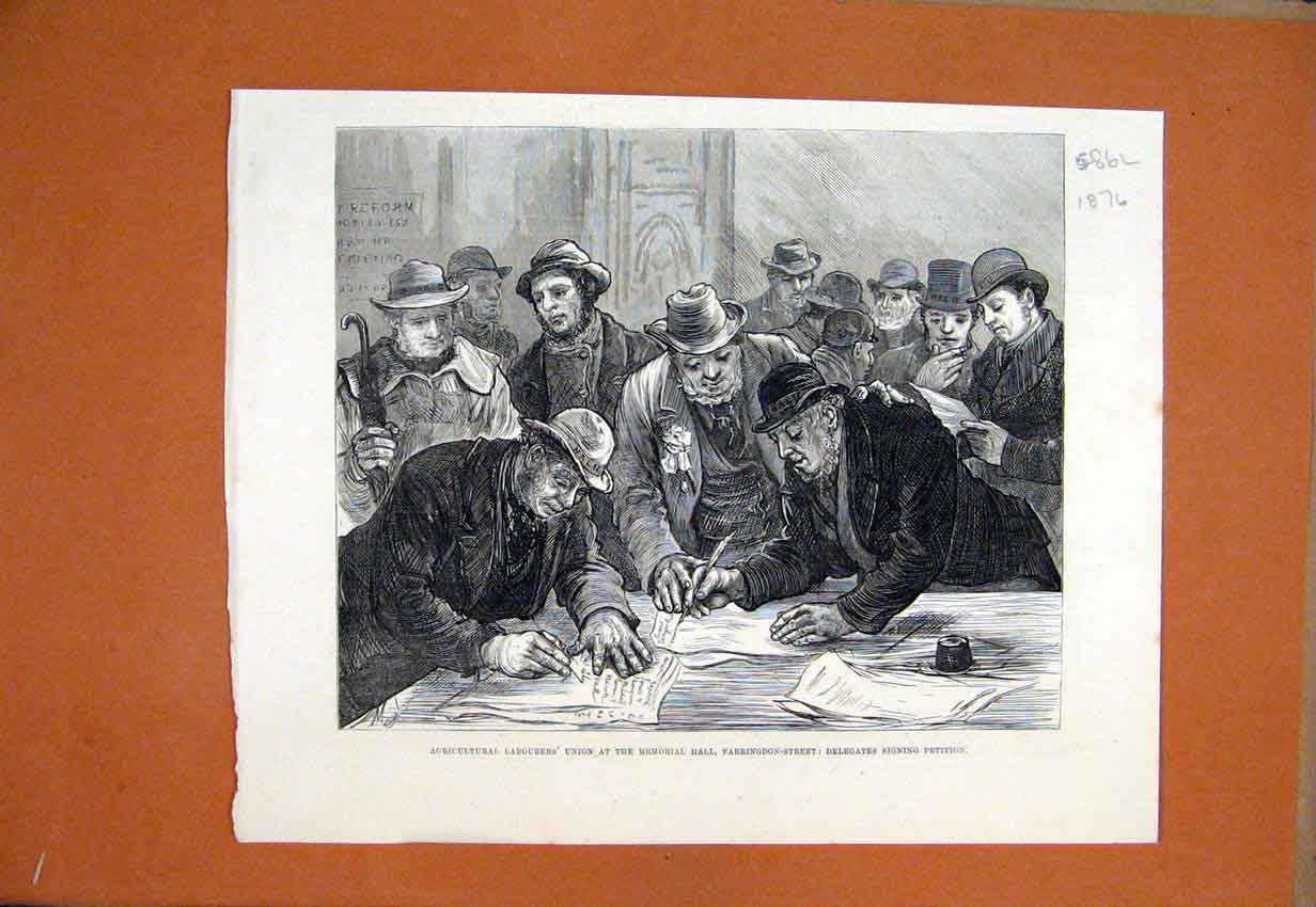 Print 1876 Agricultural Labourers Hall Union Signing Petition 86Lmar1 Old Original