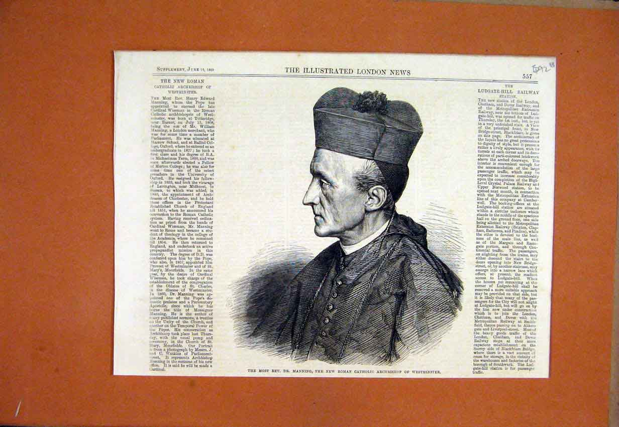 Print 1865 Manning Roman Catholic Archbishop Westminster 92Umar1 Old Original