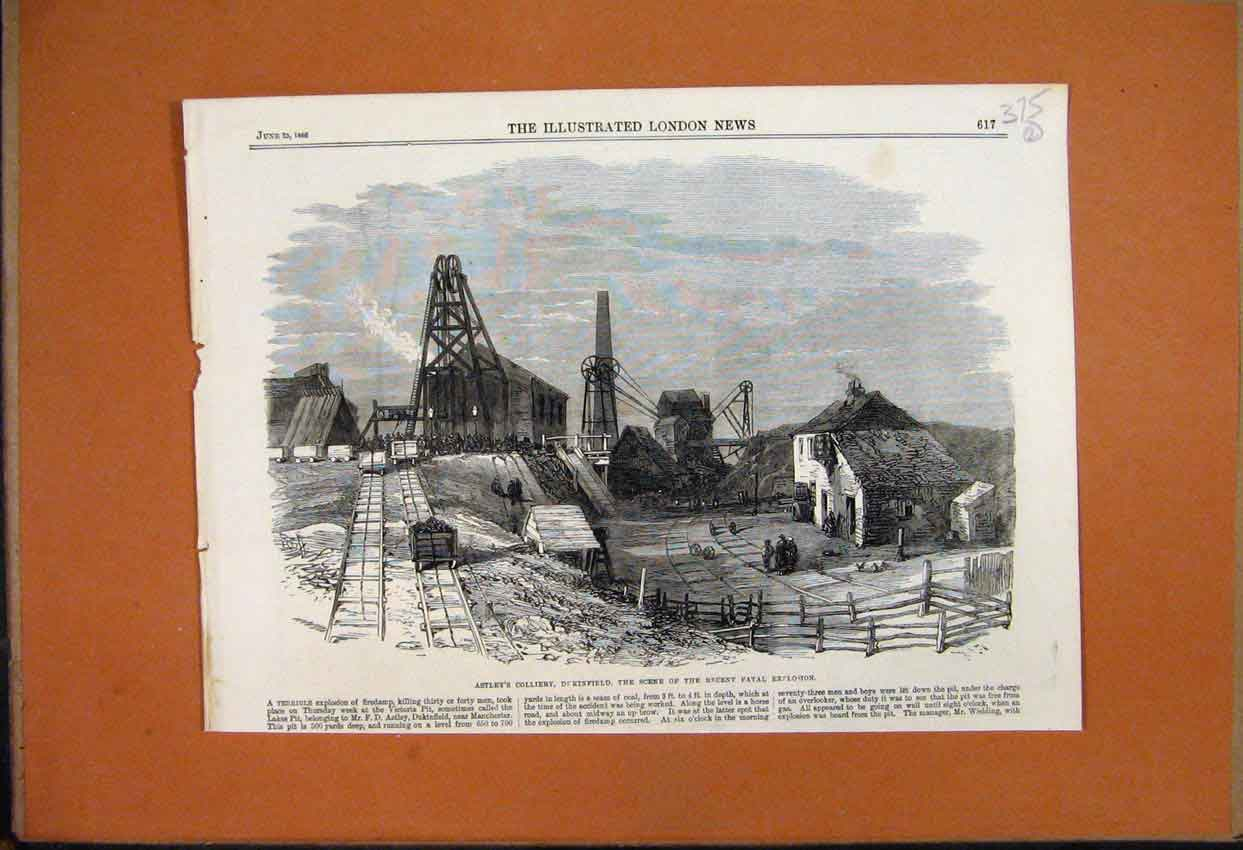 Print 1866 Astley Colliery Dukinfield Fatal Explosion Scene 75Mar1 Old Original