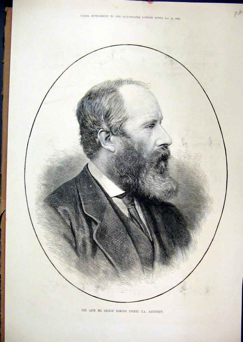 Print 1882 Portrait George Edmund Street Architect 06Mar1 Old Original