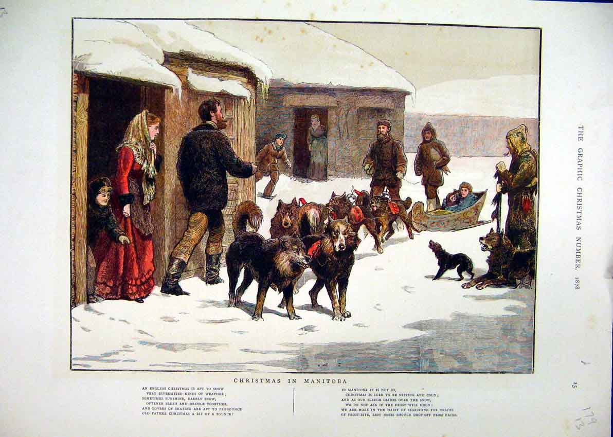 [Print 1878 Christmas Manitoba Snow Dogs Sledge Children 79Mar1 Old Original]
