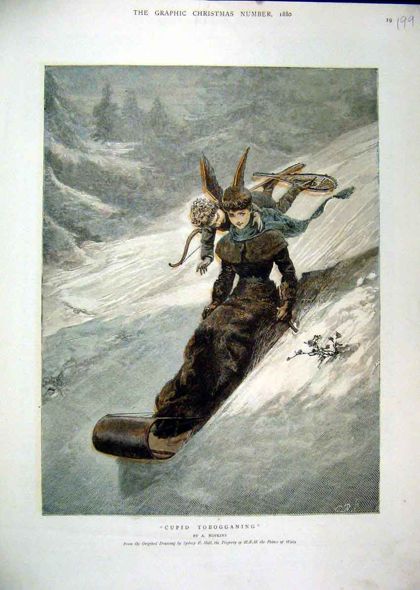 Print 1880 Snow Scene Cupid Tobogganing Fantasy 99Mar1 Old Original