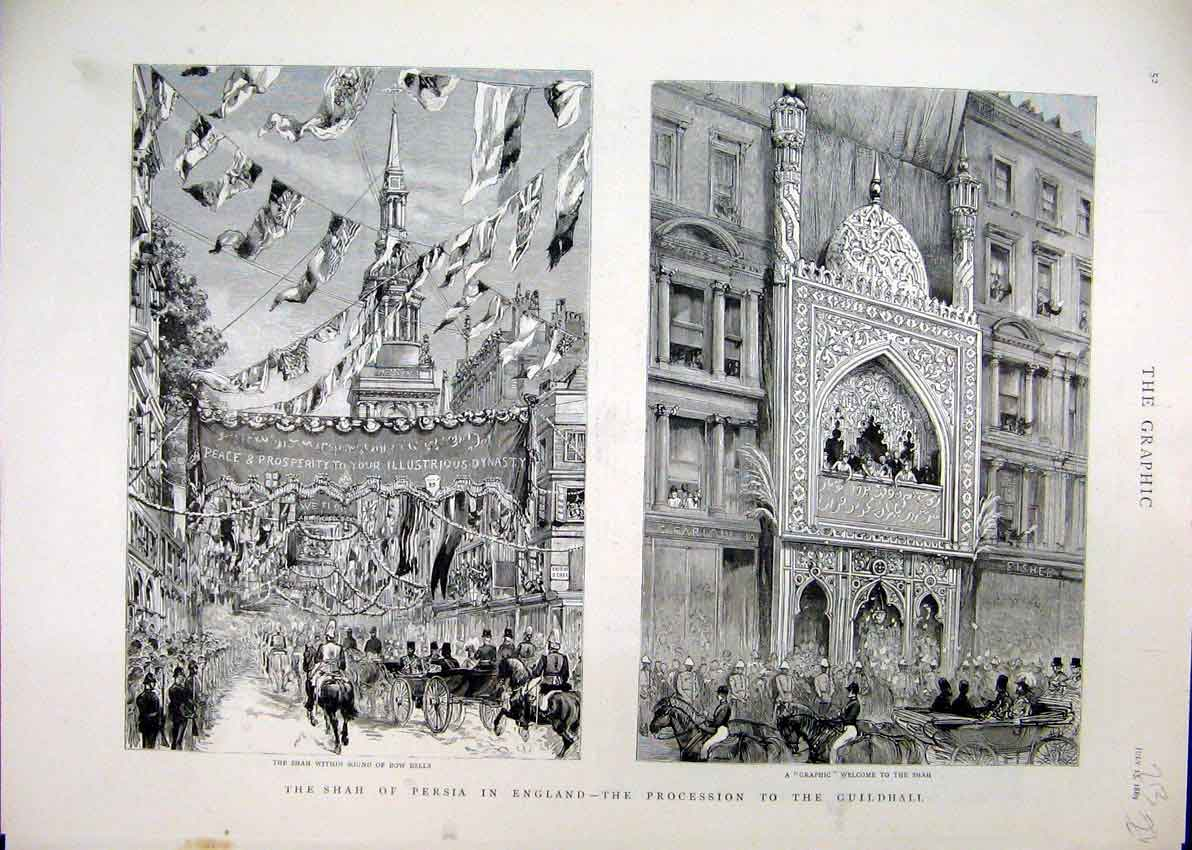 [Print Shah Persia England 1889 Procession Guildhall Bow Bells 13Mar1 Old Original]