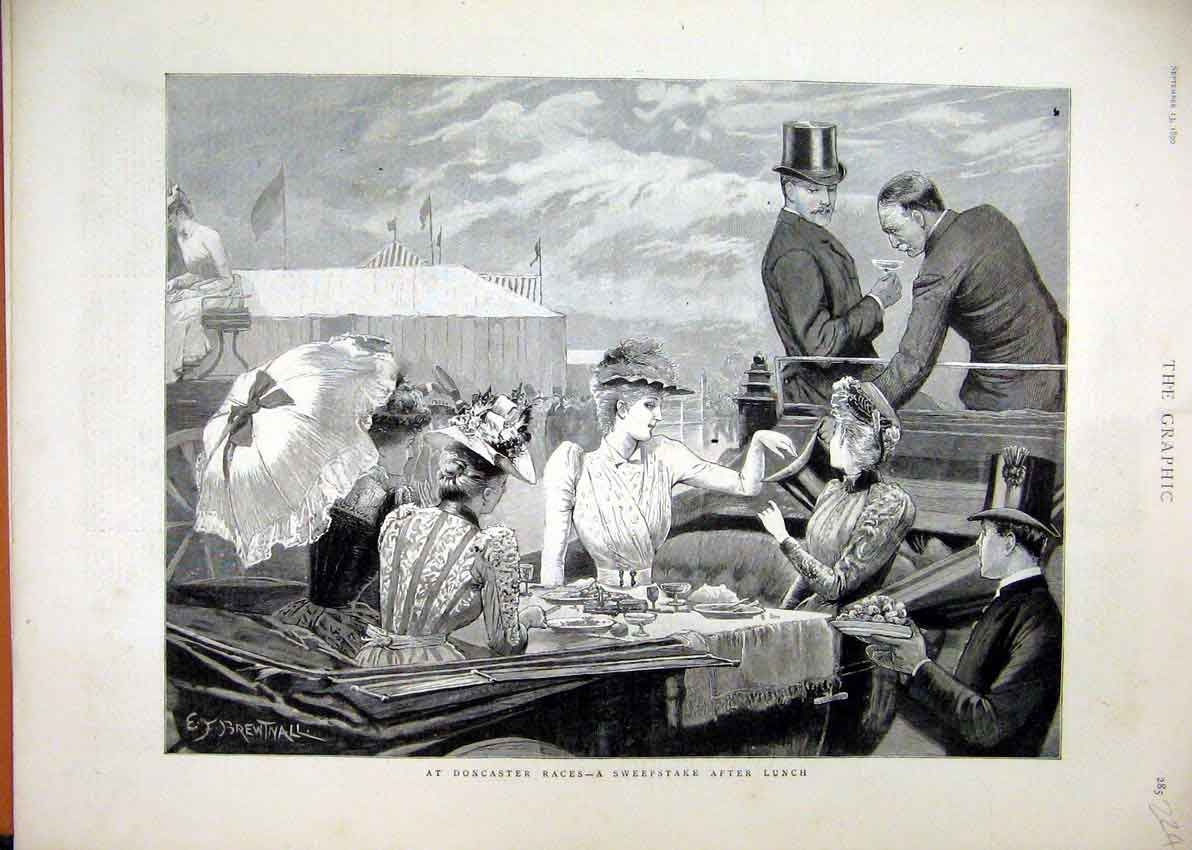 Print Doncaster Races Sweepstake Lunch Romance 1890 24Mar1 Old Original