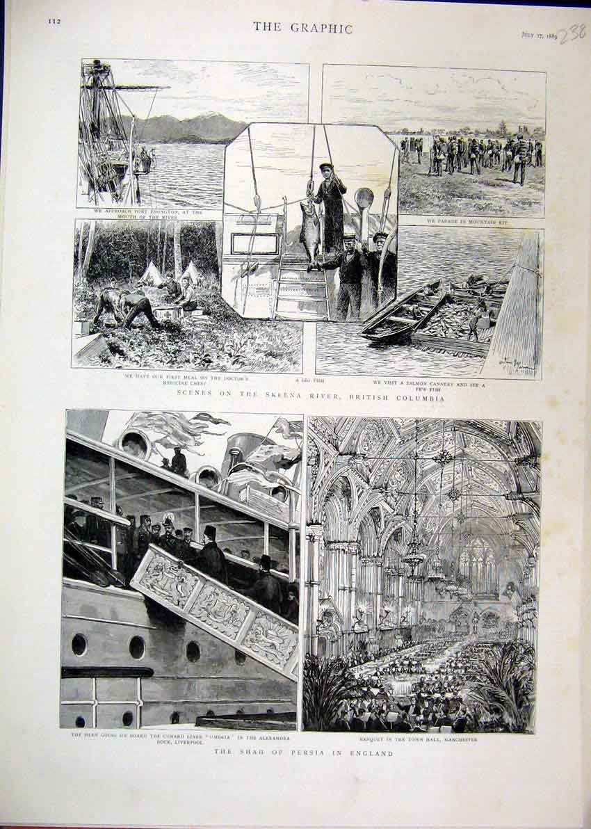 Print 1889 Shah Persia England Banquet Town Hall Salmon Fish 38Mar1 Old Original