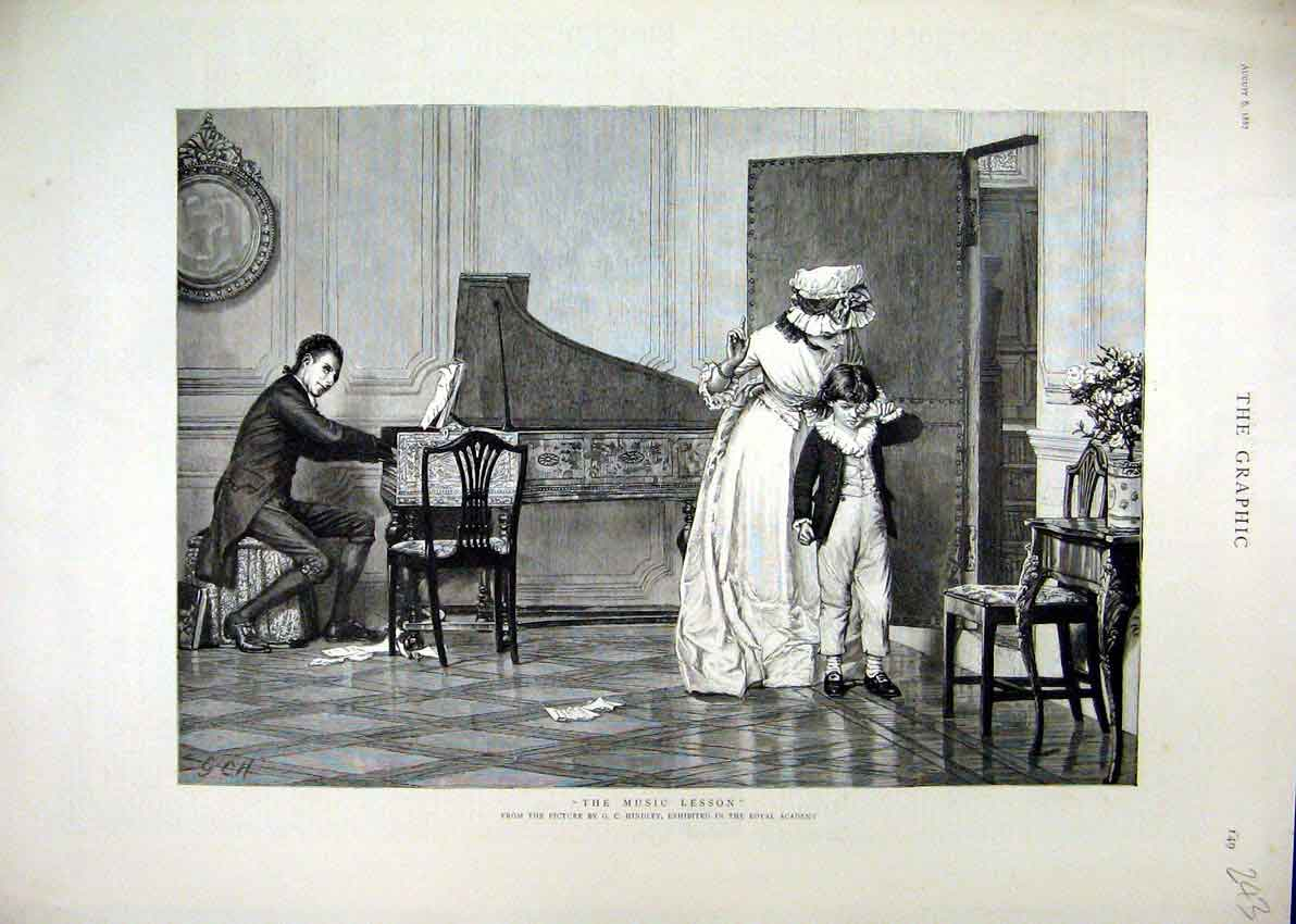 Print 1887 Young Boy Music Lesson Piano Man Playing 43Mar1 Old Original