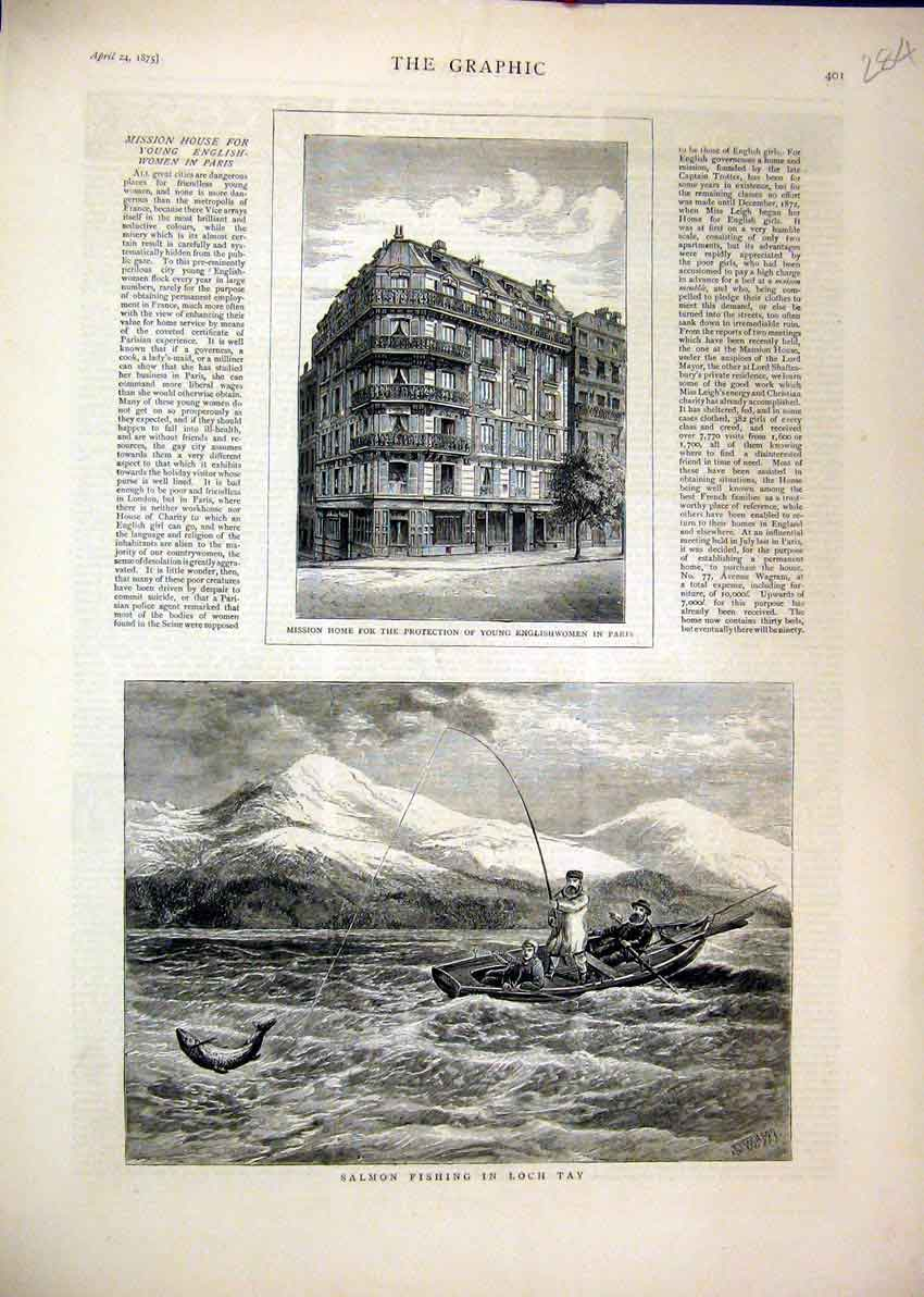 Print 1875 Salmon Fishing Loch Tay Mission Home Paris 84Mar1 Old Original