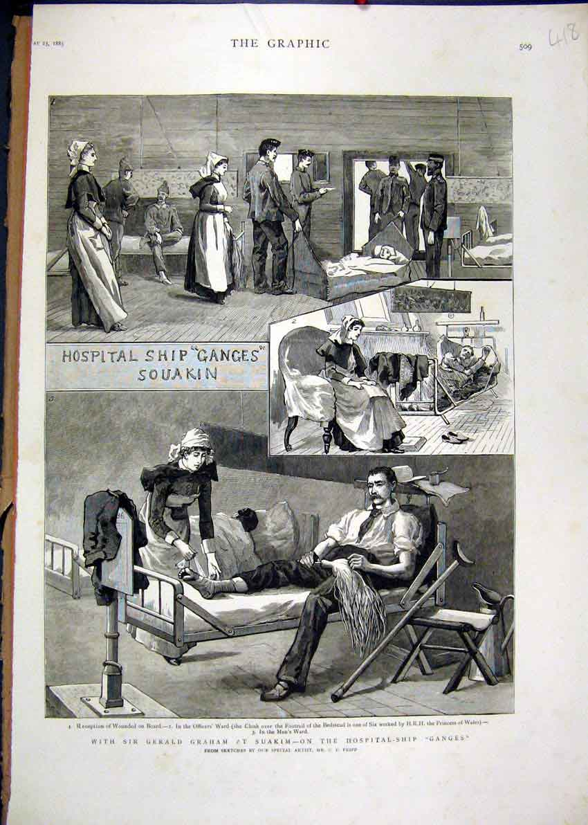Print 1885 Gerald Graham Suakim Hospital Ship Ganges Ward 18Mar1 Old Original