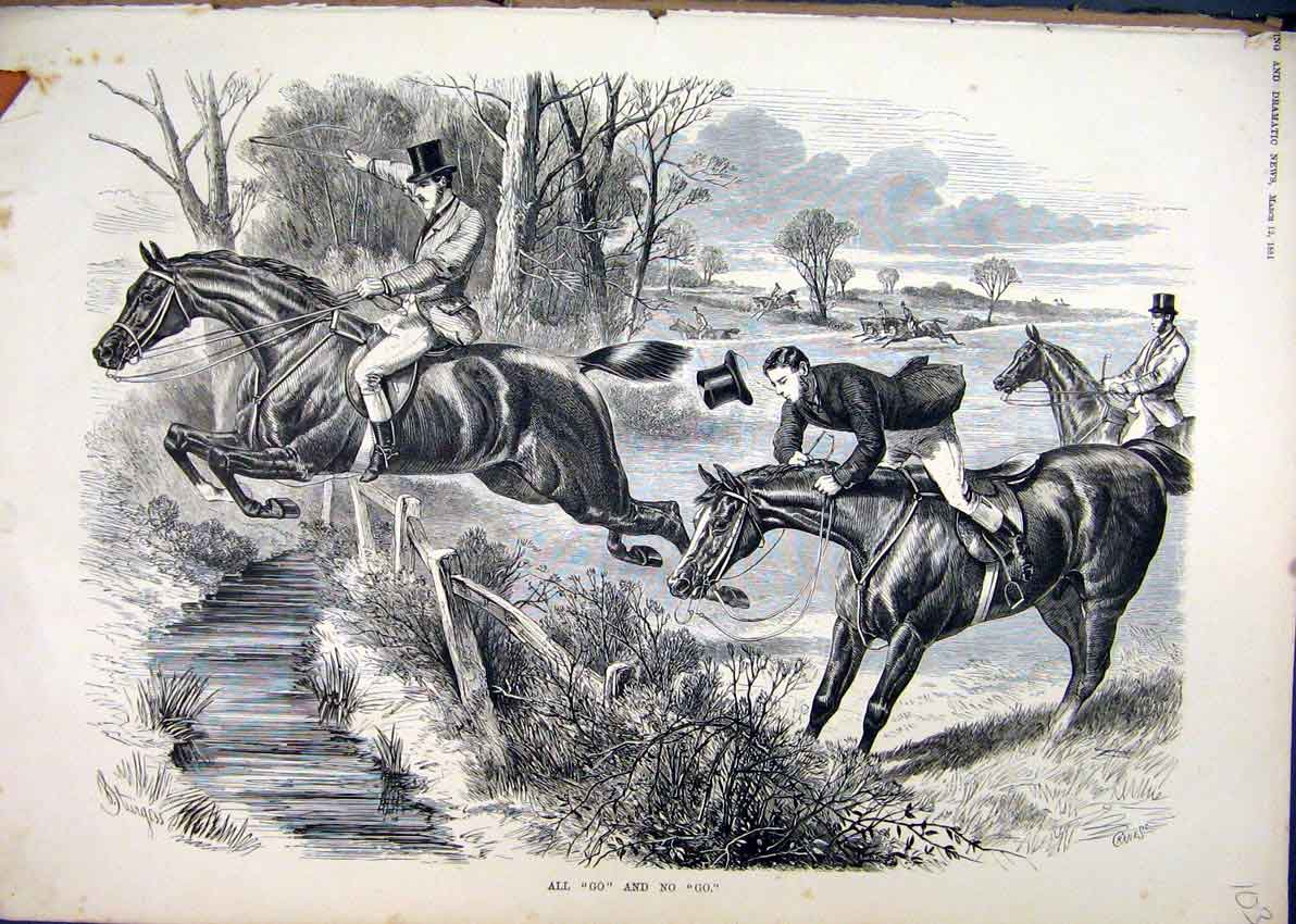 Print Horse Race Jumping Fence 1881 Refusing Rider Falling 03Mar1 Old Original