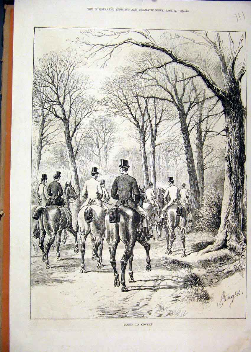 Print Horses Riders 1877 Going Covert Trees Country Scene 11Mar1 Old Original