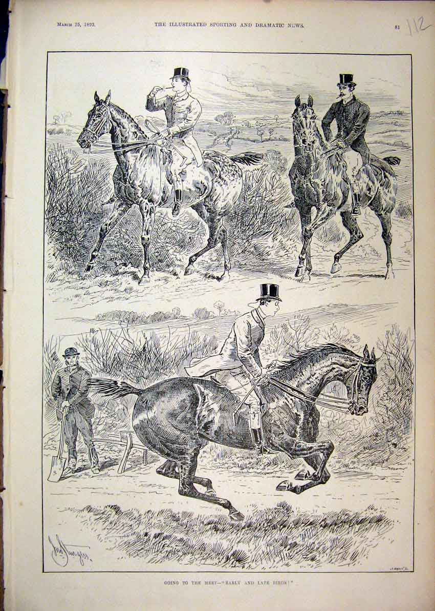Print 1893 Horses Riders Going Hunting Early Late Sketch 12Mar1 Old Original