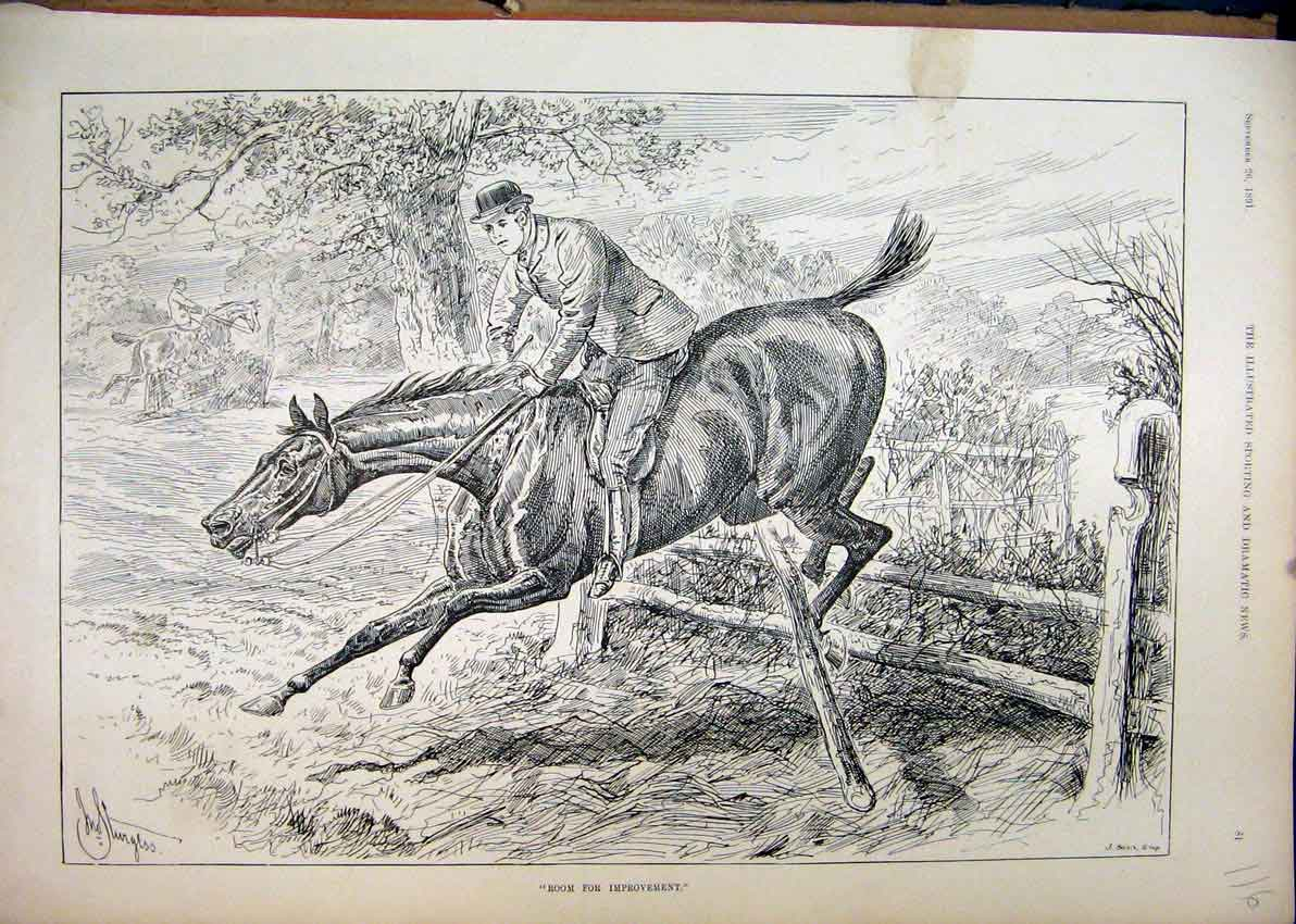 Print 1891 Horse Rider Jumping Breaking Fence Country Scene 16Mar1 Old Original