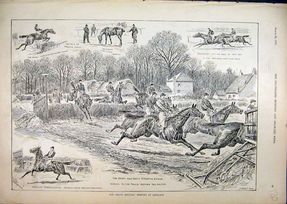 Print 1892 Army Navy Steeplechase Mahdi Hollington Fence 20Mar1 Old Original