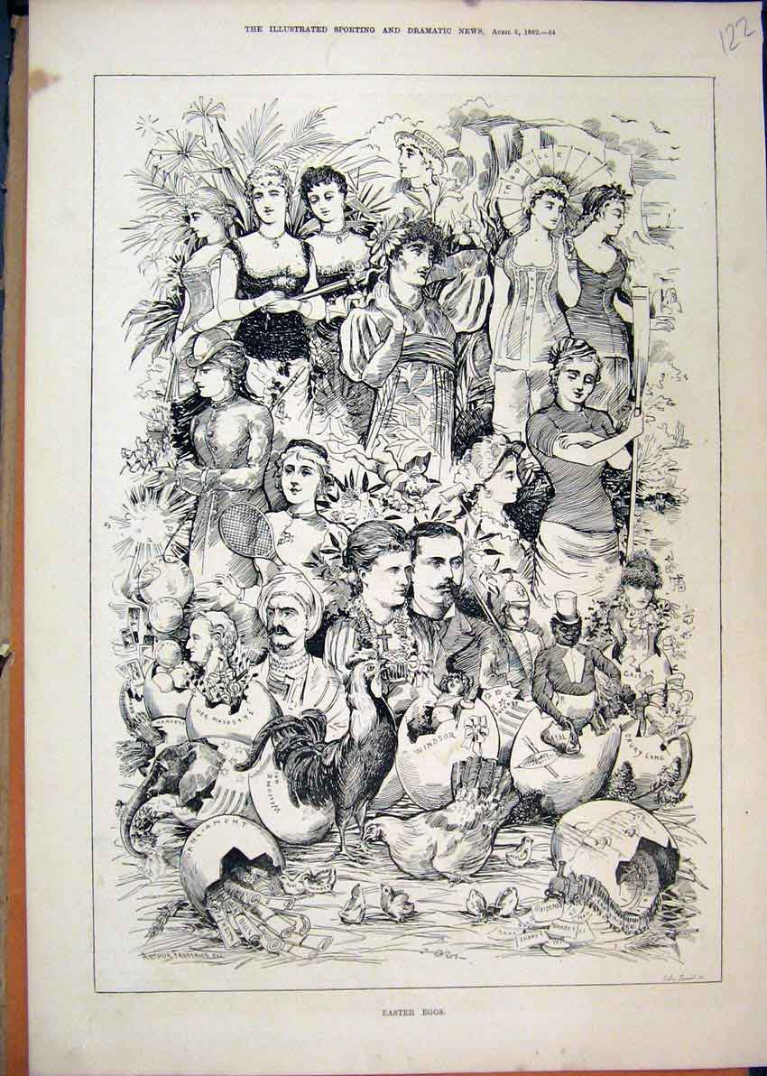 Print Broken Easter Eggs 1882 Scene Windsor Drury Lane Natal 22Mar1 Old Original