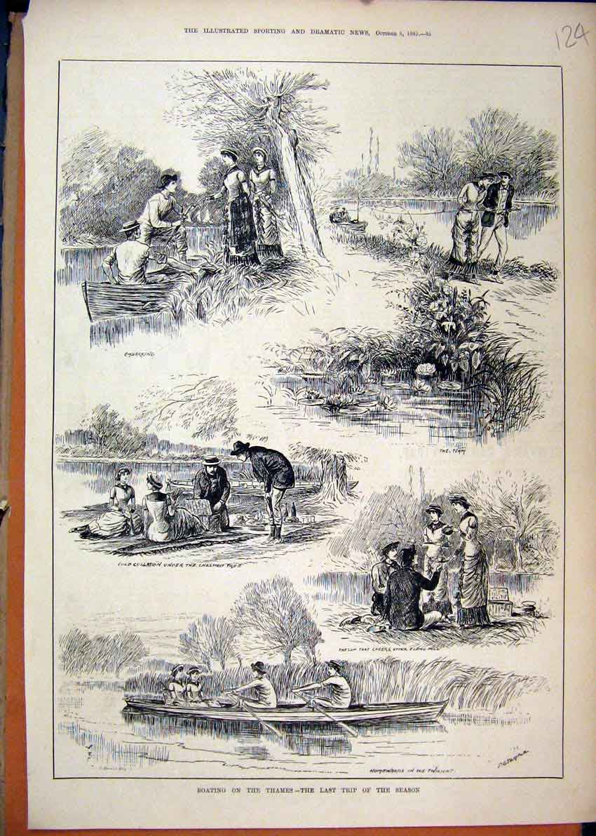 Print 1883 Boating Thames Last Trip Season Picnic Romance 24Mar1 Old Original