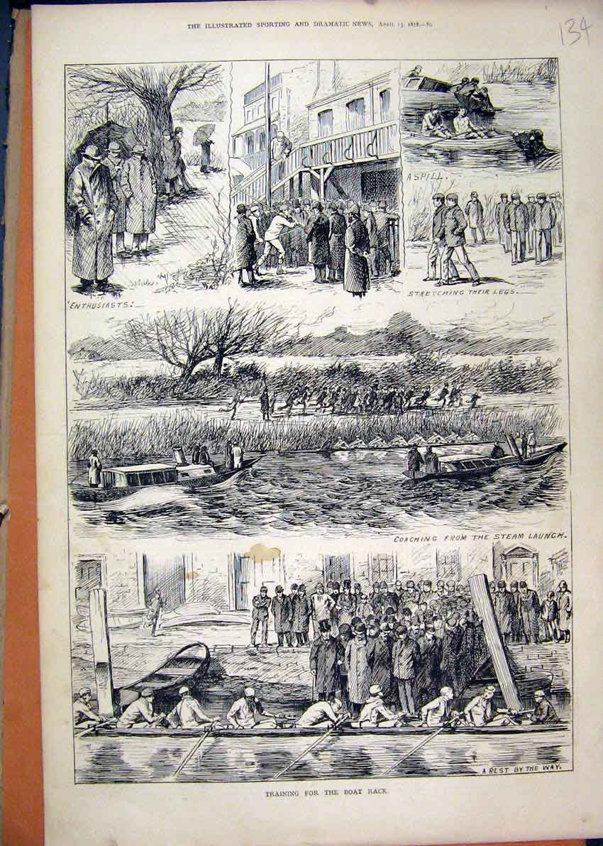 Print 1878 Boat Race Training River Steam Launch Accident 34Mar1 Old Original