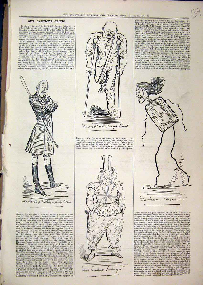 Print 1879 Theatrical Sketches Gaiety Circus Iron Chest Clown 39Mar1 Old Original
