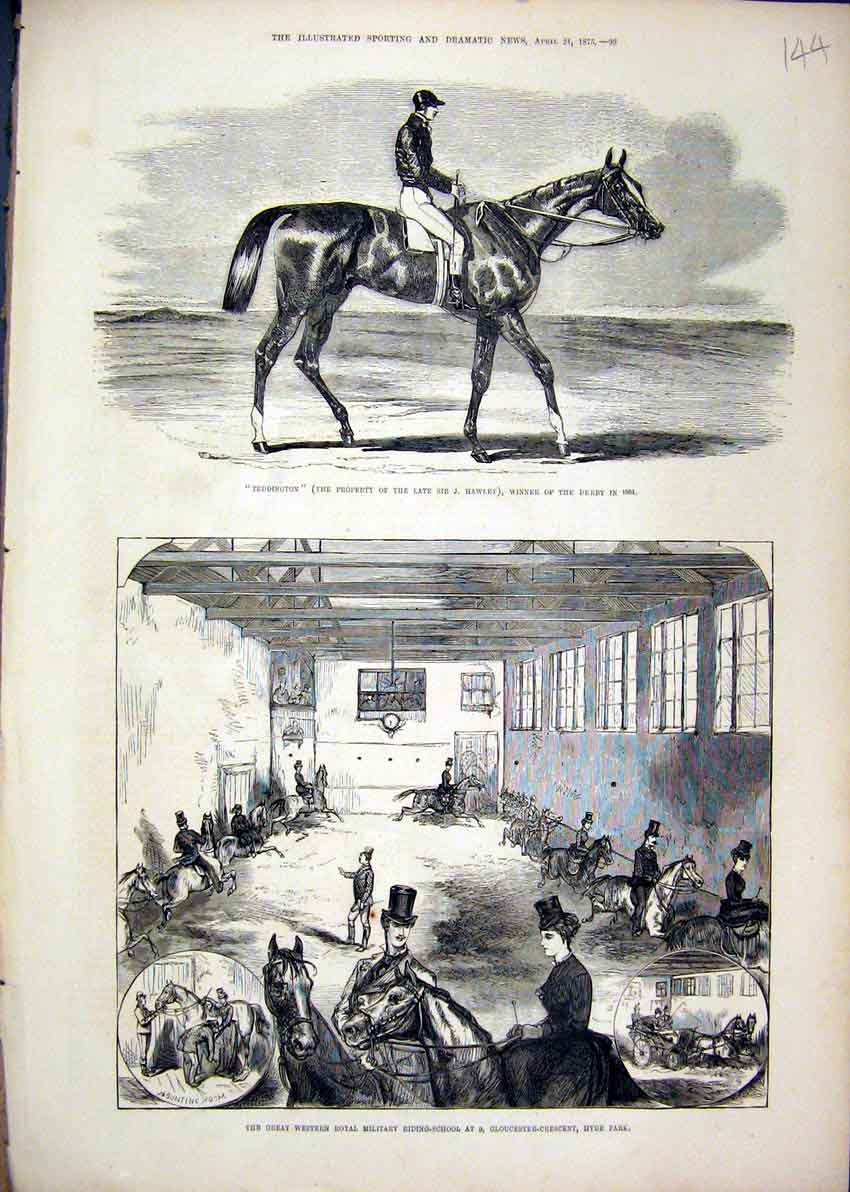 Print Royal Military Riding-School Hyde Park 1875 Teddington 44Mar1 Old Original