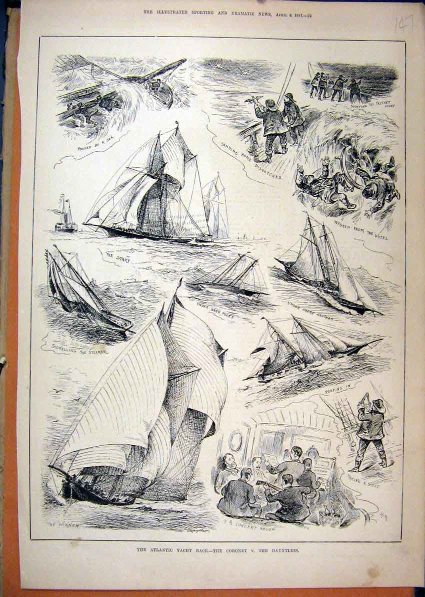 Print 1887 Atlantic Yacht Race Coronet Dauntless Music 47Mar1 Old Original