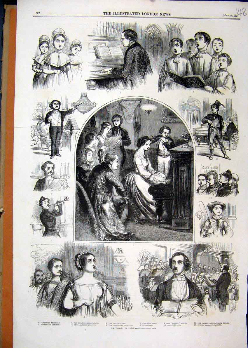 Print Music 1859 Grand Opera Cathedral Organist Choristers 48Mar1 Old Original