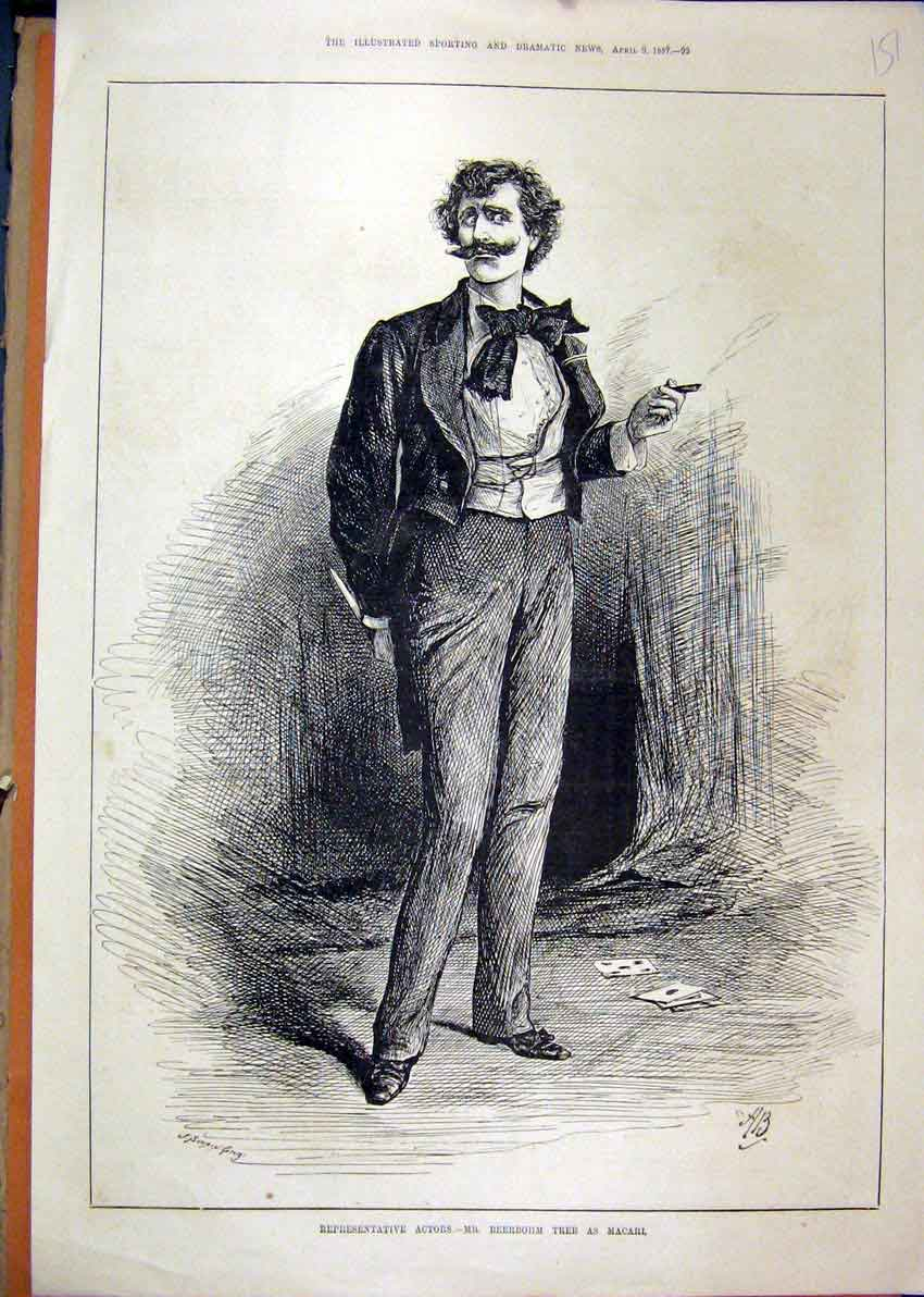 Print 1887 Mr Beerbohm Tree Macarl Theatre Man Smoking 51Mar1 Old Original