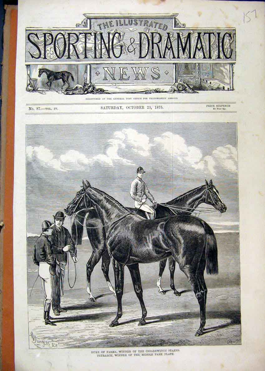 Print Duke Parma Winner Cesarewitch Stakes 1875 Petrarch 57Mar1 Old Original