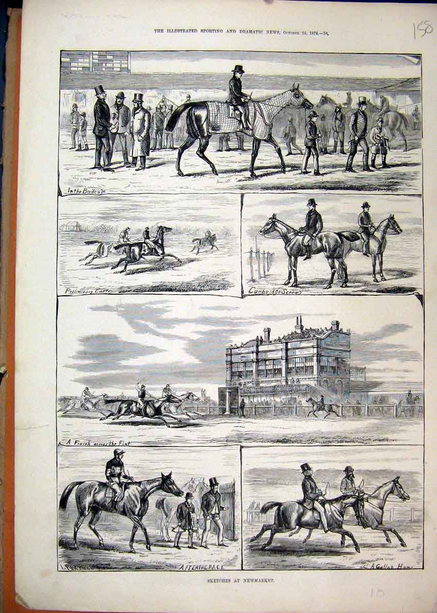 Print 1874 Sketches Newmarket Birdcage Horse Racing Gallop 58Mar1 Old Original