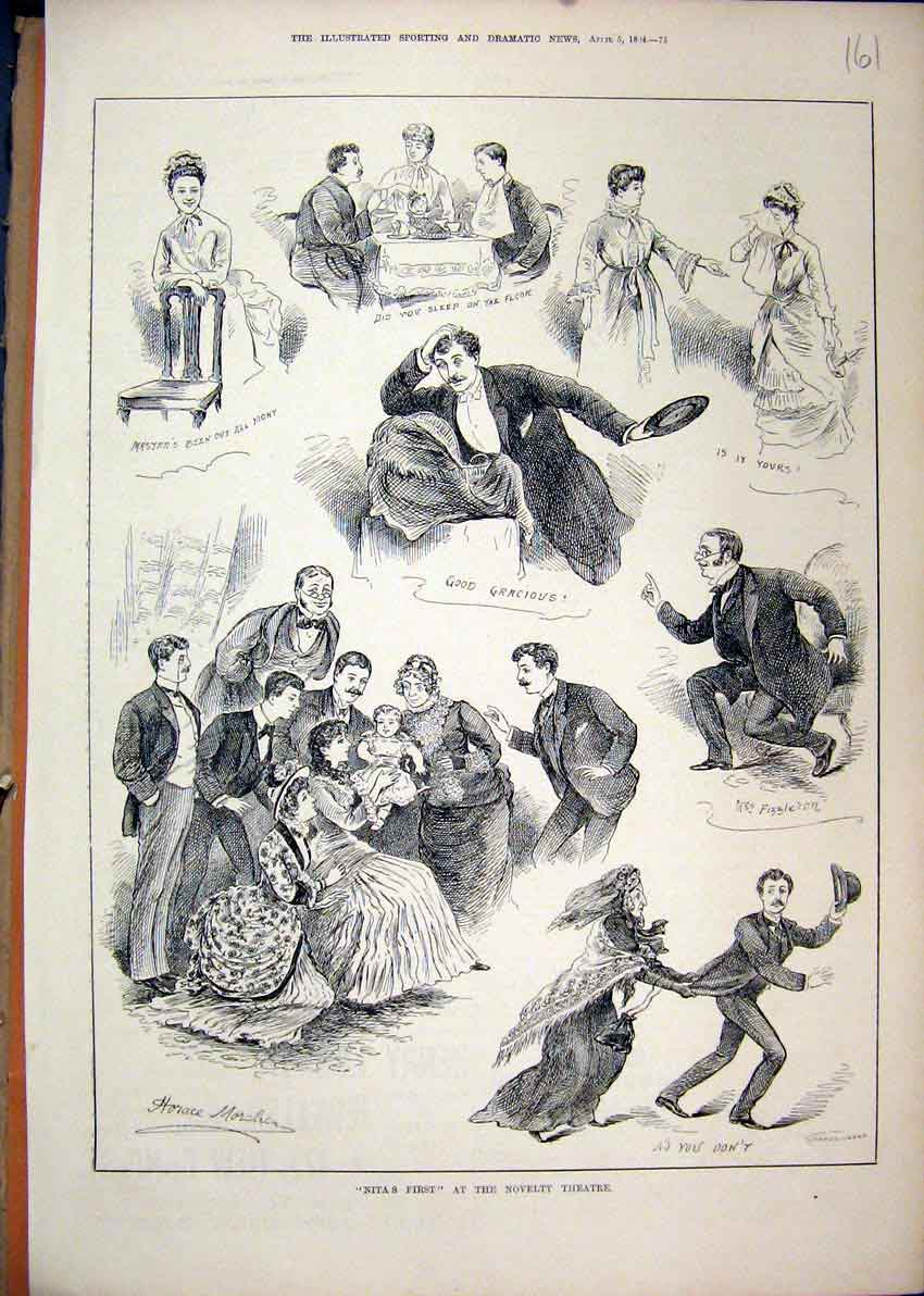 Print 1884 Nita First Novelty Theatre Fizzleron Horace 61Mar1 Old Original