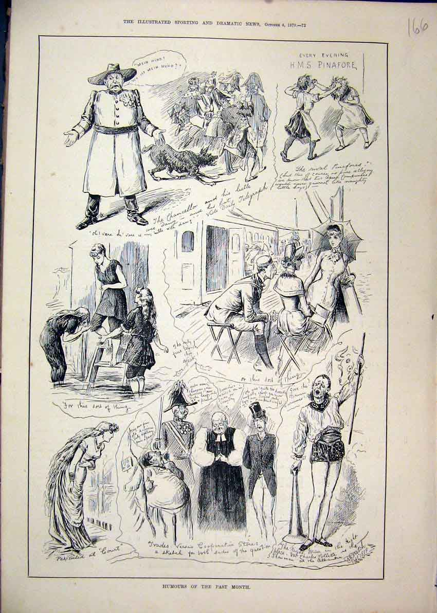 Print 1879 Comedy Sketches Man Singing Children Fighting Dog 66Mar1 Old Original