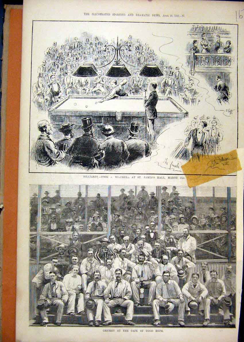 Print 1880 Billiards James Hall Cricket Cape Good Hope Sport 67Mar1 Old Original