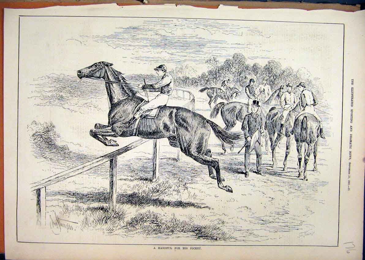 Print Horse Jumping Running Away Jockey 1883 76Mar1 Old Original