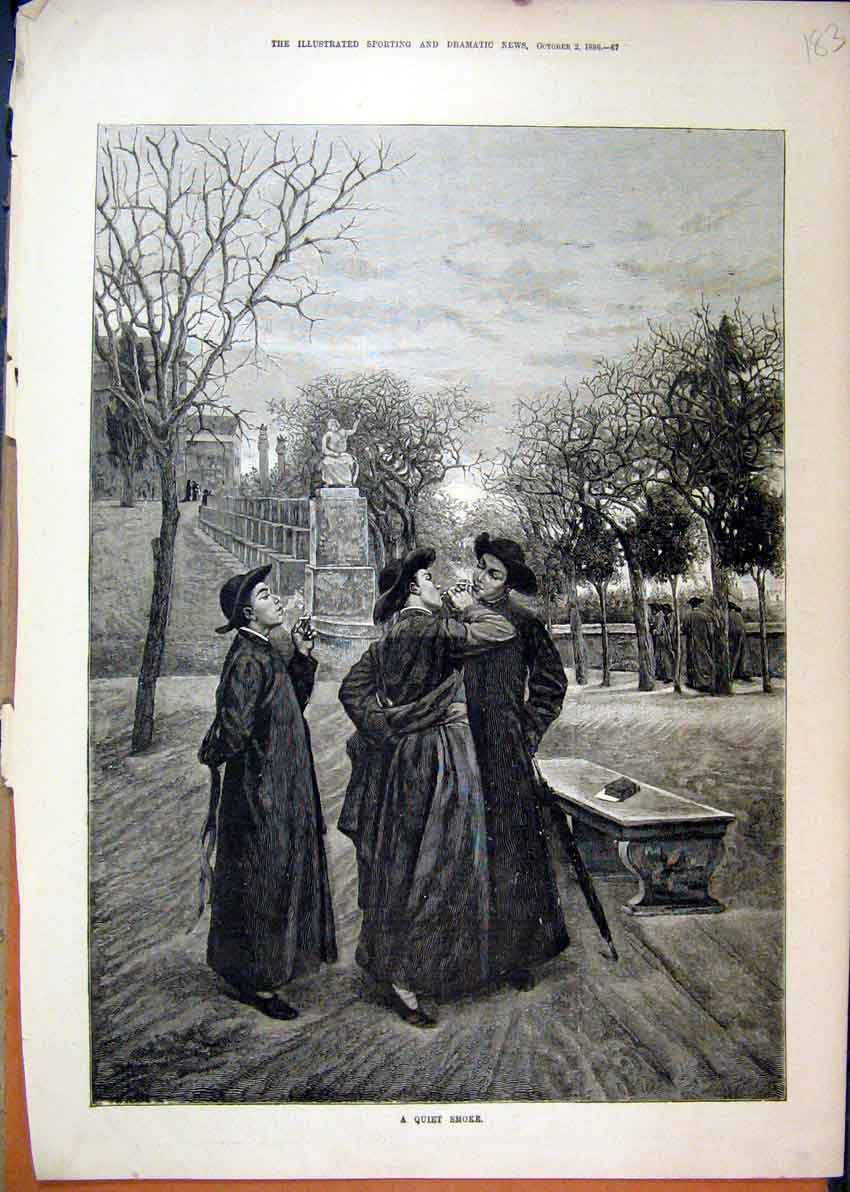 Print Men Smoking 1886 Trees Statue Country Fine Art 83Mar1 Old Original
