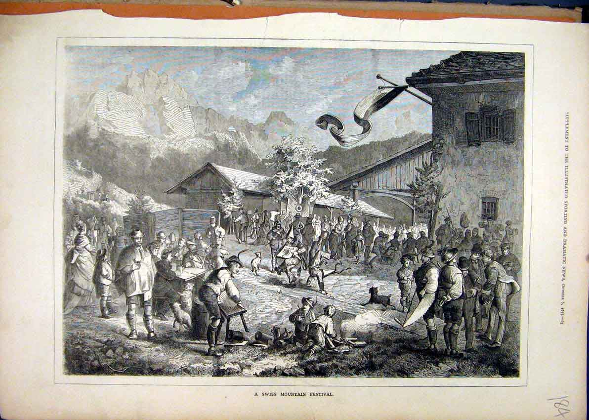 Print Swis Mountain Festival 1877 Party Street Scene 84Mar1 Old Original
