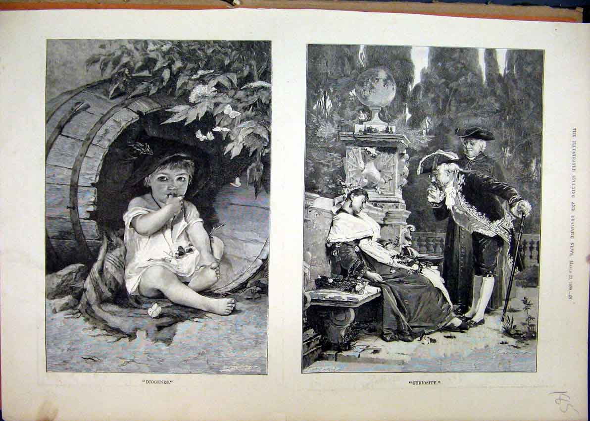 Print 1890 Small Child Sitting Barrel Woman Sleeping Bench 85Mar1 Old Original