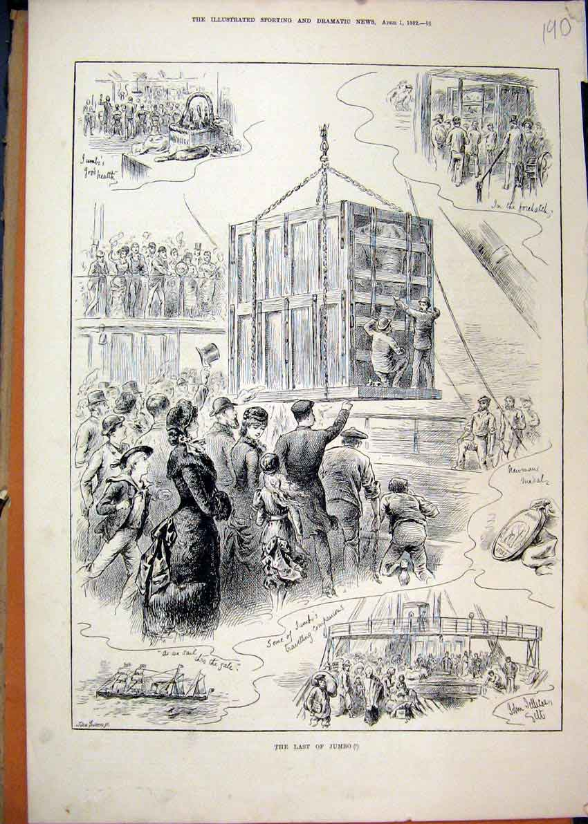 Print 1882 Ship Transport Elephant Crate Family Watching 90Mar1 Old Original