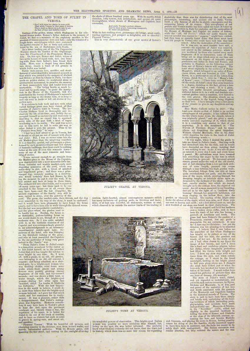 Print 1879 Juliets Chapel Verona Outdoor Scene Tomb 91Mar1 Old Original