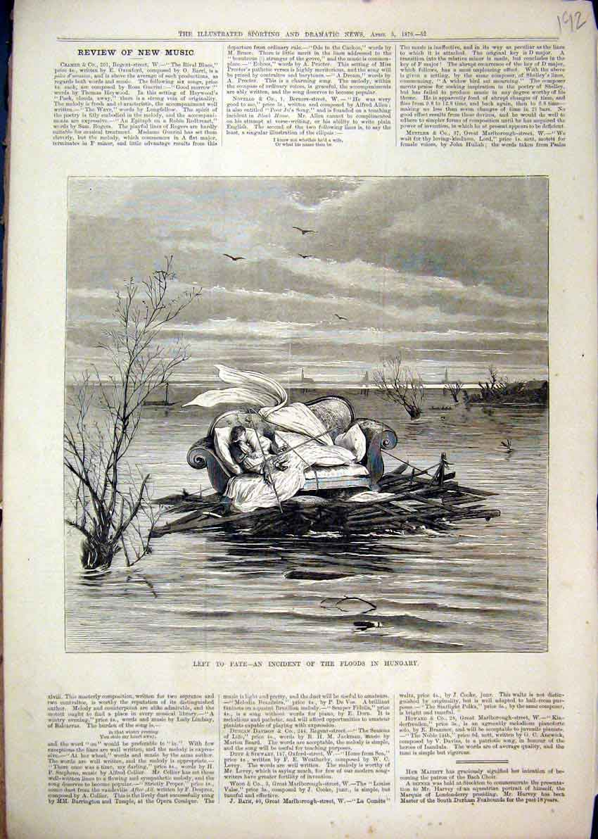 Print 1879 Floods Hungary Woman Chair Floating Water 92Mar1 Old Original