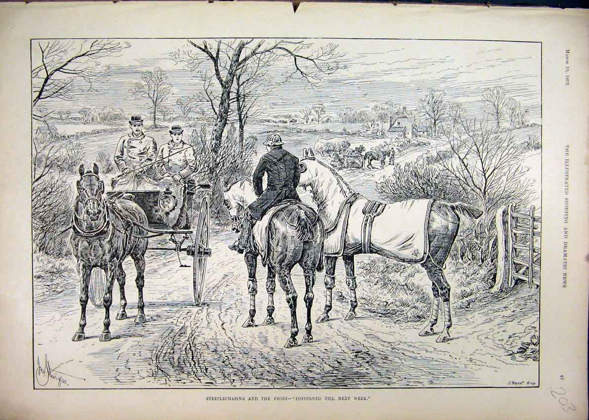 Print 1892 Steeplechasing Frost Postponed Horse Carriage 03Mar1 Old Original