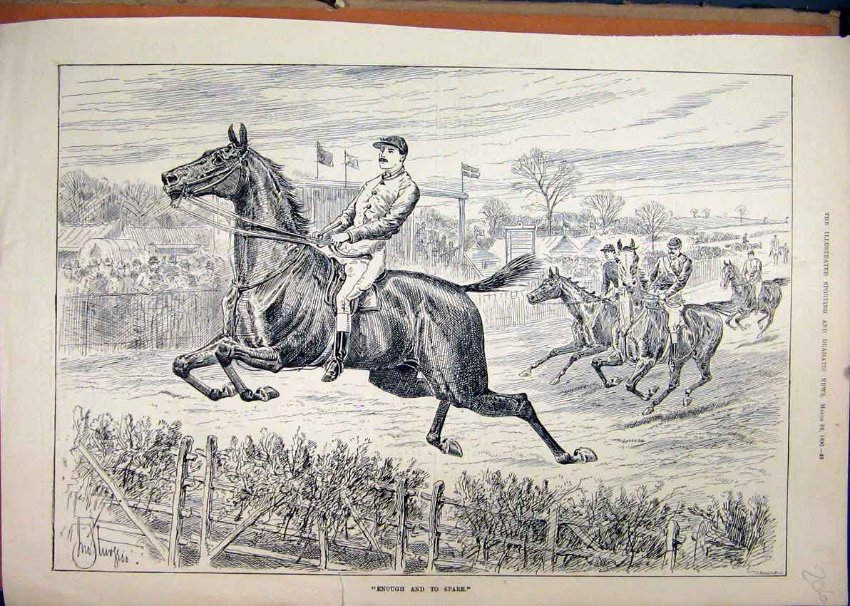 Print 1890 Horse Jumping Fence Racing Steeplechase 06Mar1 Old Original