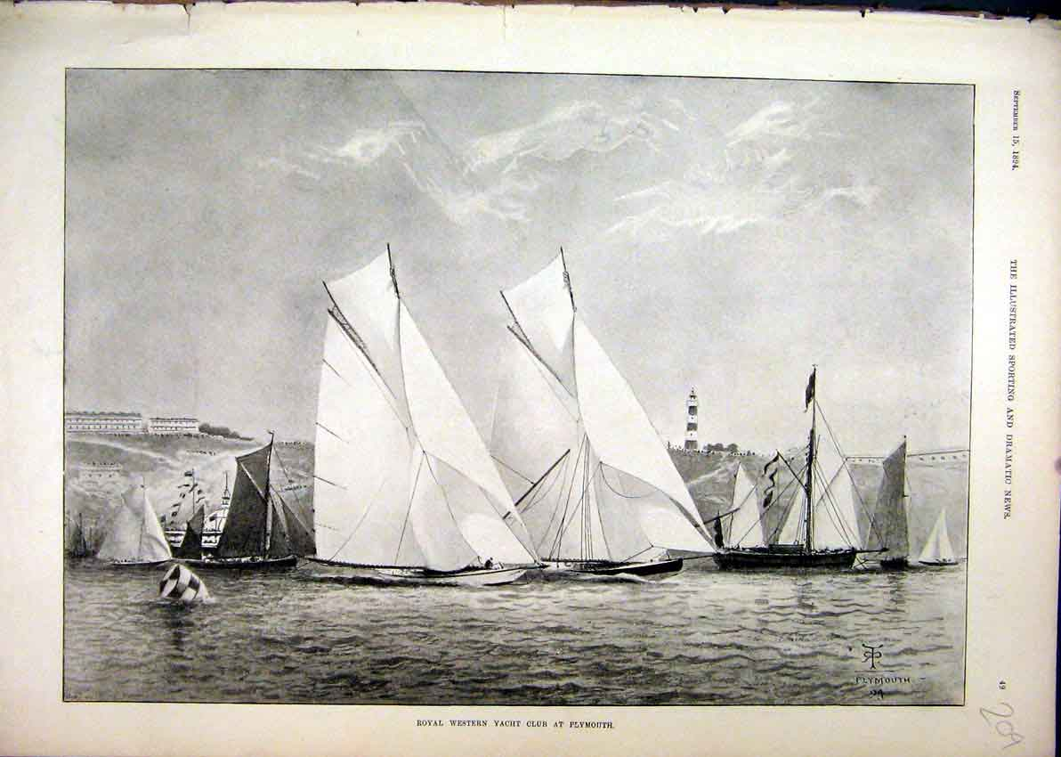 Print Royal Western Yacht Club 1894 Plymouth Ships 09Mar1 Old Original