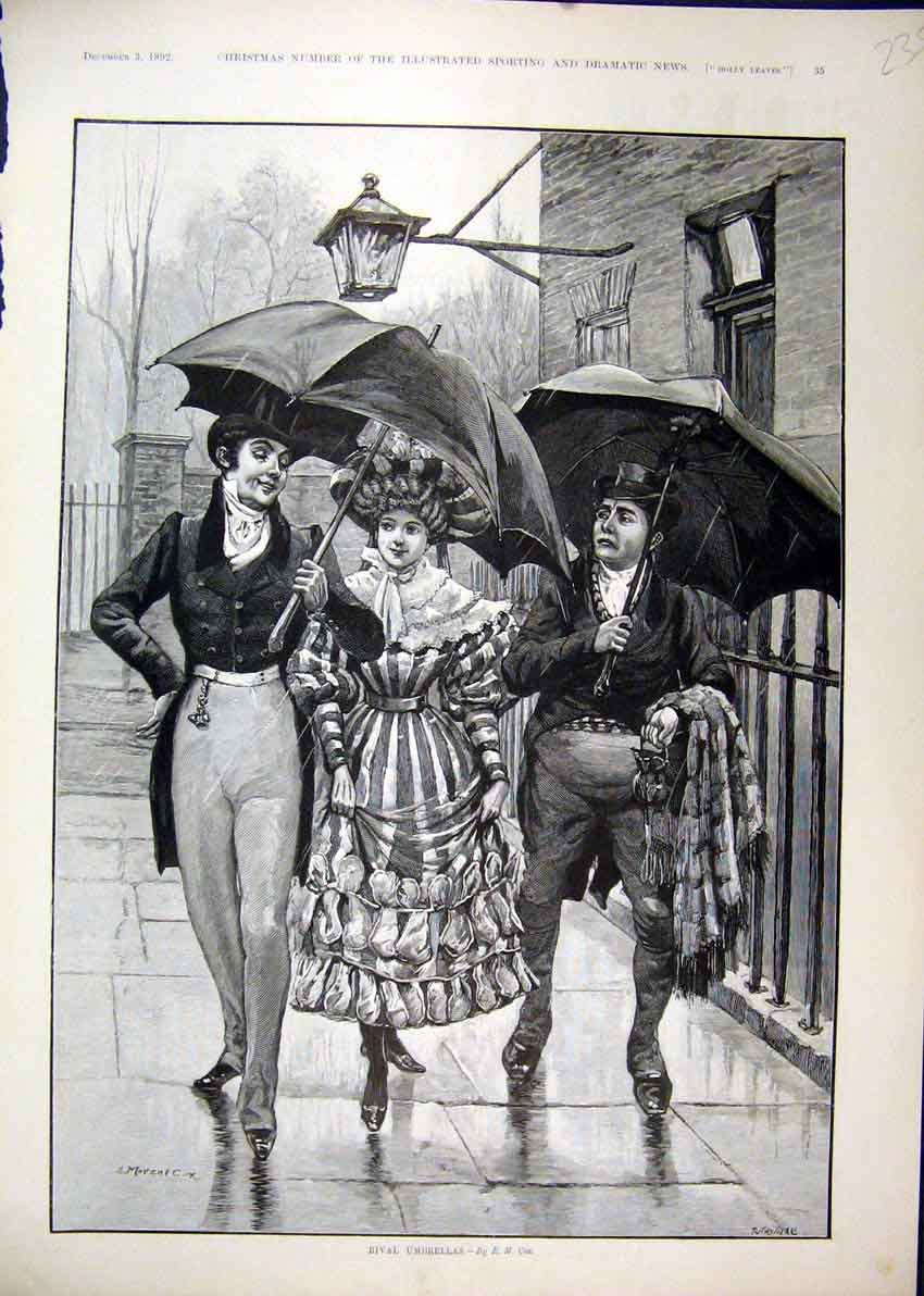 Print Woman Men Romance 1892 Raining Street Umbrella 35Mar1 Old Original